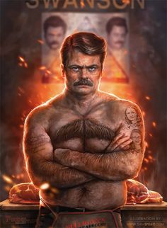 Ron Fucking Swanson by Sam Spratt #art #ronswanson #awesome  don't know how i'm so late to this party, but parks and rec is my new favorite show. still need to see 3rd season!