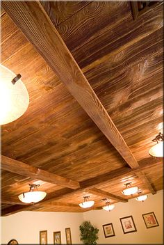 Ceiling in kitchen on pinterest ceiling tiles steel and for Faux wood ceiling planks