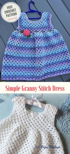Simple Granny Stitch Crochet Dress #crochet #freepattern #dresses