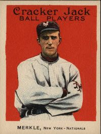 Fred Merkle 1915 Cracker Jack card.  Read about 5 affordable but memorable cards from this set.