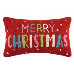 Merry Christmas Hook Wool Lumbar Pillow