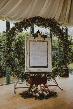 Framed table plan surrounded by floral circle. Photography 34. Wedding Bride, Wedding Table, Wedding Flowers, Flower Decorations, Wedding Decorations, Park Lodge, Perfect Gif, Black Tie Wedding, Table Plans