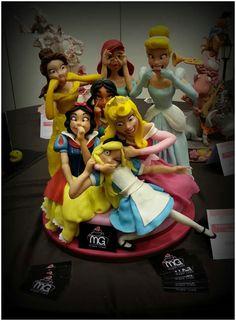 When the disney princesses went bonkers. Fondant figures.