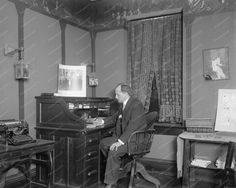 Lawyer At Work In Home Office 1910s 8x10 Reprint Of Old Photo