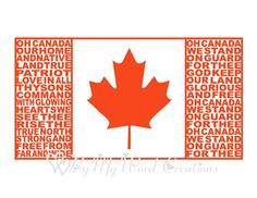 Canada Flag Art Canadian Flag Word Art by ByMyWordCreations