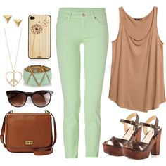 Created by richie-xox  Mint and beige are great pastel colours for spring 2014! Pair your outfit with some gold jewelry and some chunky heels and you're ready:D  ~richie-xox    #mint...