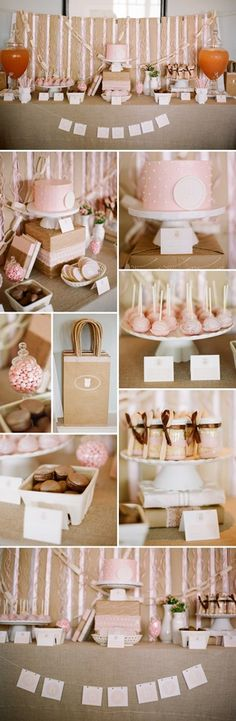 sweet pink and natural baby shower...love the paint the onsie activies