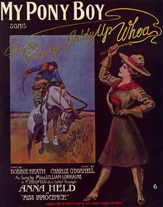 """My Pony Boy Song"" ~ Vintage sheet music cover."