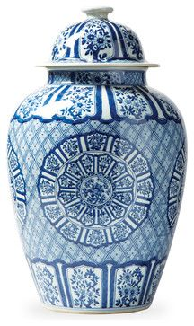 Asian Lotus Covered Blue White Hand Painted Temple Jar - C asian vases