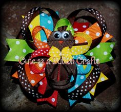 Thanksgiving fall hair bow Turkey Hair clip and by tootoocute4you, $9.50