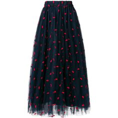 P.A.R.O.S.H. lip embroidered tulle skirt (1,670 MYR) ❤ liked on Polyvore featuring skirts, blue, high-waist skirt, high waisted tulle skirt, mid length tulle skirt, elastic waistband skirt and mid length skirts