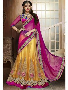 Golden Yellow Latest Heavy Embroidery Lehenga