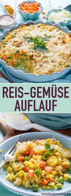 Reis Gemüse Auflauf mit Käse überbacken Rice and vegetable bake baked with cheese The simple rice dish from the oven is basically a basic recipe made of rice with a delicious egg-cream mixture that you can change with your vegetables as you wish. Quiche Recipes, Casserole Recipes, Baked Vegetables, Veggies, Vegetable Casserole, Vegetable Bake, Vegan Breakfast Recipes, Rice Dishes, Easy Cooking