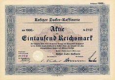 Rositzer Zucker-Raffinerie / Rositz i. Thür., 10.3.1939, Aktie über 1000 RM, Reichsbankschatz-Lochentwertung.