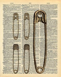 Vintage Dictionary Print Safety Pin Upcycled by missquitecontrary, $10.00