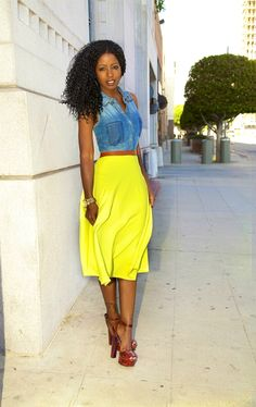 I dislike her shoes but love her outfit! Sleeveless Denim Shirt + Neon Circle Skirt By Style Pantry