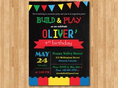Building Blocks birthday invitation. Colorful Building Blocks Bricks birthday party invite. Lego and Chalkboard. Printable digital DIY.