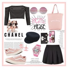 """""""On Set : 'Satin Pleat Shorts'"""" by kikyrejeki ❤ liked on Polyvore featuring Boohoo, By Terry, Holiday, Vans, Miss Selfridge, Isabel Marant, Chanel, Kate Spade and Casio"""