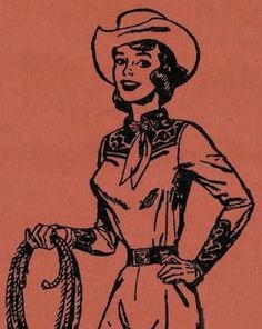 This Cowgirl illustration is a unique illustration by CSA Images. View our online stock illustration collection! Cowboy Art, Cowboy And Cowgirl, Cowgirl Chic, Cowgirl Tattoos, Vintage Cowgirl, Western Art, Fandoms, Vintage Art, Vintage Ladies