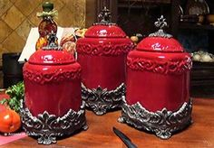 Red Canisters Set 3   Nice For My New Home And My Red Craze. French Country  Kitchen Accessories  Red Fleur De Lis ...
