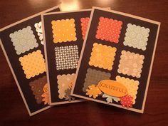 handmade card set: Patchwork Thanksgiving ... Grateful Greetings by ThisandThatWhimsy ... pretty patterned papers in Thanksgiving colors and tiny prints punched into scalloped squares ... 2X3 grid ... sentiment oval on top of punched leaves