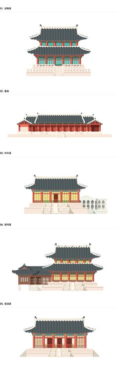 The colours and shapes in these vectors are simple yet effective, as they create interesting textures and patterns on the buildings, as well as giving them depth. As a result they become more realistic and true to the style of these ancient palaces. Icon Design, Design Art, Graphic Design, Korean Painting, Asian Architecture, Korean Design, Korean Art, Korean Traditional, Arte Popular