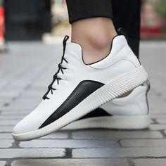 Fashion Men Leather Slip Resistant Wear-resistant Sport Sneakers - NewChic