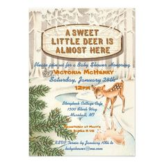 Charming Vintage Winter Woodland Baby Shower invitations. A sweet little deer is almost here. Perfect for the winter themed baby shower!