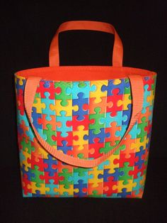 Autism Awareness tote bag purse FREE SHIPPING by Savvyinspired, $23.00