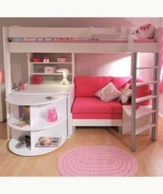Loft beds are excellent space saving ideas for small rooms. Nothing better than a loft bed makes a small bedroom more spacious, functional and comfortable. Loft beds create extra space by building the bed upward and allowing the space below it to be Pink Bedroom For Girls, Teen Girl Bedrooms, Small Room Bedroom, Bedroom Loft, Blue Bedroom, Trendy Bedroom, Bedroom Storage, Bedroom Colors, Small Rooms