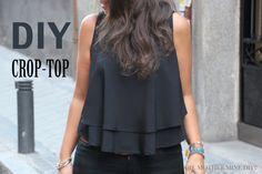 DIY Costura: Cómo hacer blusa crop top. Patrón o molde de blusa Crop-top gratis en el blog. Despliega la descripción para más información!!! Post completo y ...