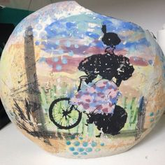 Lady cyclists. Ellen Appleby. Underglaze, slip and glaze.