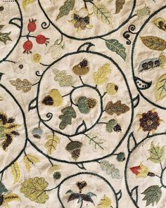 Unknown original source, via Hooked Heart I don't know why I've suddenly become obsessed, but I can't stop searching for and staring at antique textiles. Embroidery detail ca. Jacobean Embroidery, Vintage Embroidery, Embroidery Stitches, Embroidery Patterns, Hand Embroidery, Christmas Embroidery, Textiles, Lazy Daisy Stitch, Textile Art