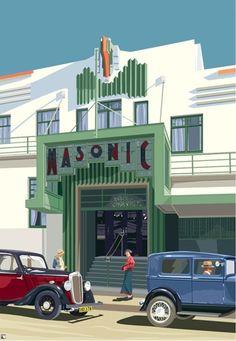 """Art Deco Napier Masonic Hotel"""" Canvas Prints by contourcreative . Art Deco Hotel, Art Deco Posters, Vintage Posters, Art Nouveau, Art Deco Paintings, Art Deco Buildings, Hotel S, Art Deco Design, Art Deco Fashion"""