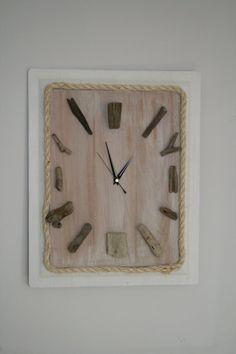 Handmade Driftwood wall clock edged in sisal sweeping non ticking clock mechanism reclaimed wood