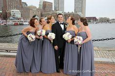 Bridesmaid Bouquets | Bridesmaids | Groom | White and Purple Flowers | Boston Wedding | Seaport Boston | Stapleton Floral Design | Kristin Griffin Photography