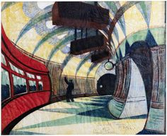 Cyril Edward Power (British, 1872-1951) The Tube Station Linocut printed in yellow ochre, spectrum red, permanent blue, viridian and Chinese blue, circa 1932, on oriental laid tissue, signed, titled and numbered 39/60 in pencil, with margins, 258 x 295mm (10 x 11 5/8in)(B)