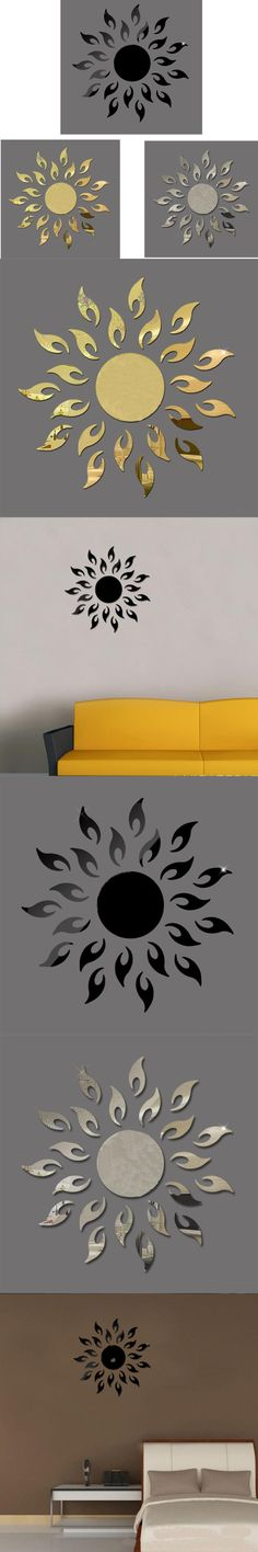 New Qualified Luxury 3D Sun flower Home Decor Bell Cool Mirrors Wall Stickers dec19 $3.68
