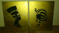 Egyptian tutenkamun nefertiti  Gold Spray paint and black acrylic paint