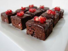 Fragrant Vanilla Cake: Raw Pomegranate Chipotle Brownie Bites