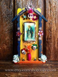 Virgin Mary Miniature Nicho / Folk Art Catholic Shrine / Day-of-the-Dead Altar / Dia de los Muertos Decor / Virgen Maria Our Lady of Grace