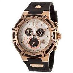 Blue Marine Mother of Pearl Dial Chronograph Black Rubber Ladies Watch MW