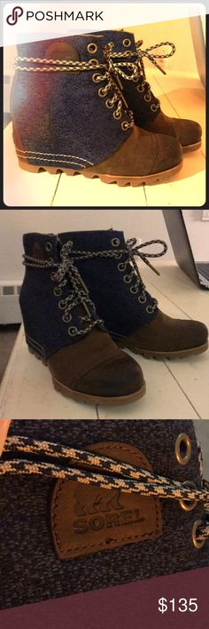Sorel Wedge Booties Only worn ONCE! Weatherproof Sorel wedge boots! Wanna look cute strutting in the snow?! Well these boots are for you! Navy upper and genuine leather toes and heel! Nice thick laces to strap on these puppies! I'm perfect condition! Sorel Shoes Ankle Boots & Booties