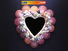 "Heart Shaped Decorative Seashell Mirror 9"" Tall by 8"" Wide Beach Cottage Decor"