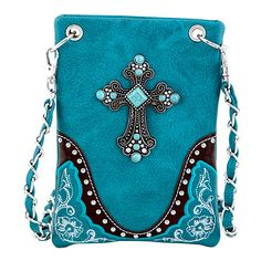 Rope & Spurs Teal Cross Concho Crossbody Bag ($16) ❤ liked on Polyvore featuring bags, handbags, shoulder bags, faux leather purse, western cross purse, faux leather shoulder bag, crossbody handbags and blue shoulder bag