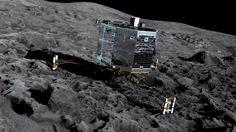 Philae sobre el cometa. Foto European Space Agency