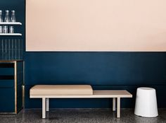 Melbourne café Moby takes colour blocking into a modern realm - Vogue Living Interior Design Blogs, Dark Interiors, Colorful Interiors, Shop Interiors, Coral Bathroom Decor, Bathroom Accessories, Commercial Interiors, Interior Architecture, Lounge
