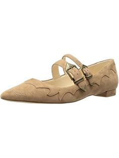 Nine West Women's Alina Suede Pointed Toe Flat, Natural, 6.5 M US ❤ Nine West
