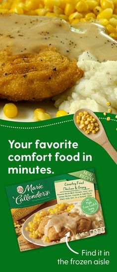Get a full serving of comfort with country fried chicken, made-from-scratch gravy, tender corn, and creamy mashed potatoes. Find Marie Callender's in the frozen aisle and enjoy your favorite comfort foods whenever the craving hits. Chicken Patty Recipes, Steak Recipes, Gourmet Recipes, Cooking Recipes, Gourmet Foods, Country Fried Steak Gravy, Country Fried Chicken, Chicken Fried Steak Easy, Chicken Patties