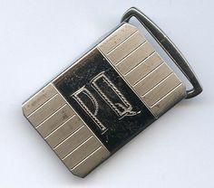 "Vintage Swank Sterling Front w/ Initials Engraved ""PQ"" Belt Buckle - Bronze Back #Swank"